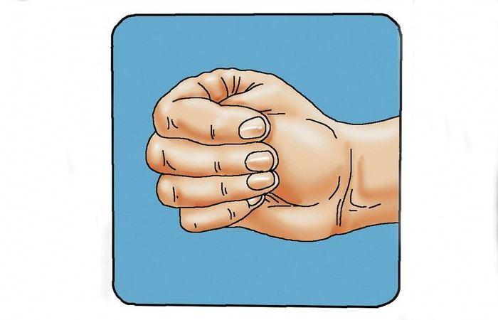 Большой палец спрятанный внутрь кулака.